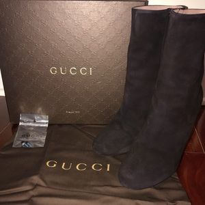 Gucci Suede Black Wedge Boot